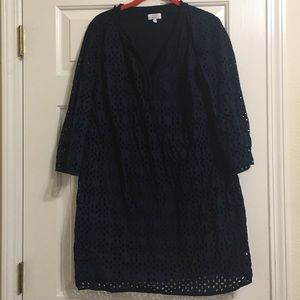 Belk crown and ivy navy blue eyelet dress
